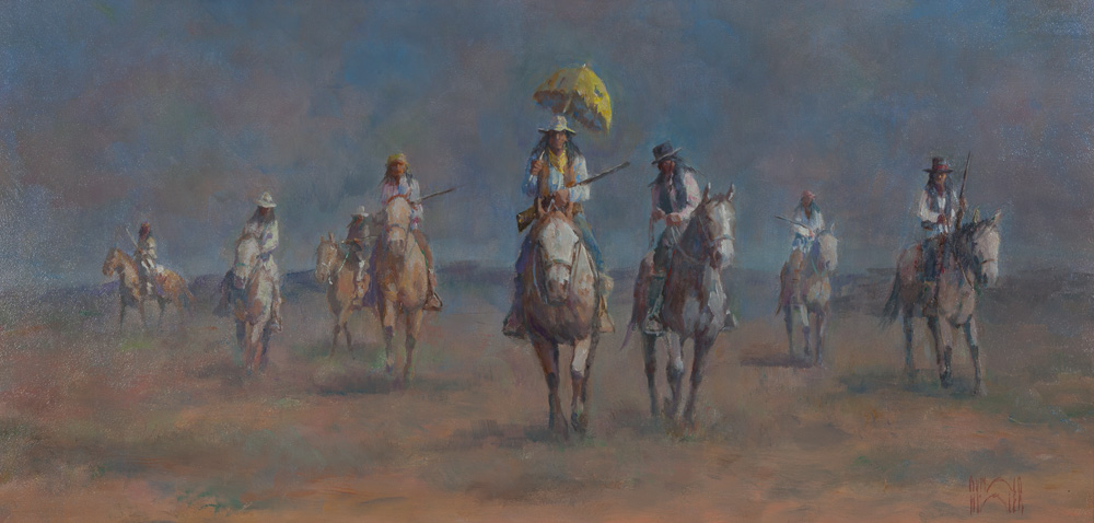 """On the Texas Plains by Ronald Himler, 12"""" x 24"""", Oil, sold"""